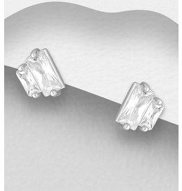 Sterling CZ Diamond Earrings