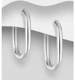 Sterling Oval Hoops