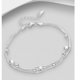 Sterling Bracelet- Silver Ball & Star