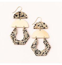 Scout Stone Cutout Earring- Dalmation Jasper/Gold