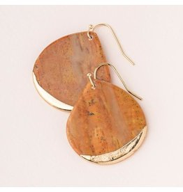 Scout Stone Dipped Earring- Petrified Wood/Gold
