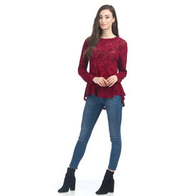 Papillon Violet- Velvet Burnout Blouse  Burgundy