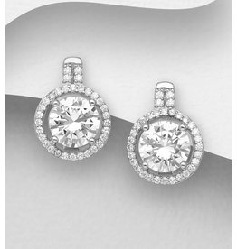 Sterling Halo CZ Omega Lock Earrings