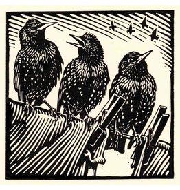 Dry Red Press Card-Starlings