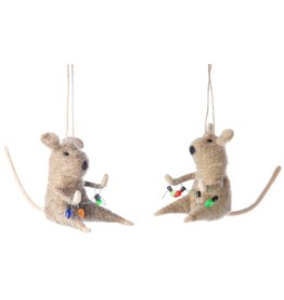 Option 2/ Silver Tree Felt Mice w/ Lights Ornament