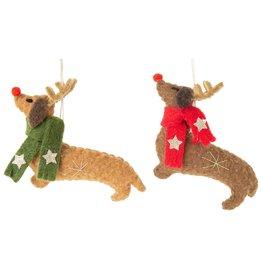 Option 2/ Silver Tree Wiener Dog Ornament