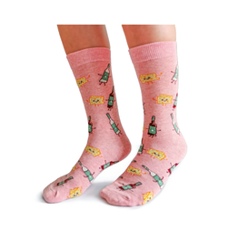 Uptown Sox LTD Women's Socks- Wine Befriends Cheese