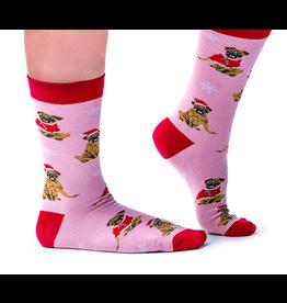 Uptown Sox LTD Women's Socks- Merry Pugmas