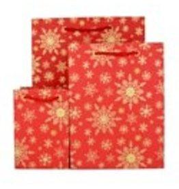 Love Vivid Xmas Giftbag- Snowflake Red - Large. (Cotton)