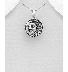 Sterling Sun/Moon Necklace
