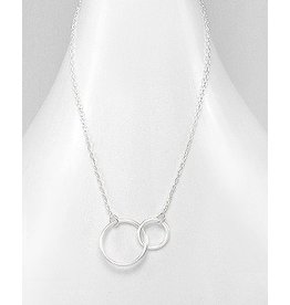 Sterling Sterling Silver Necklace w/ Double Circles