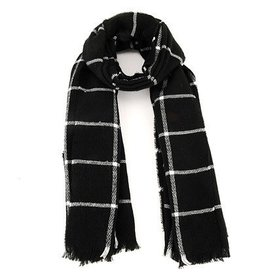 Scarf- Black/White Checkered