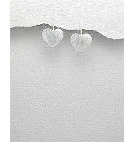 Sterling Earrings- Brushed Hearts