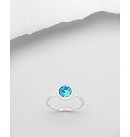 Sterling Ring-Circle Opal (More Colours)