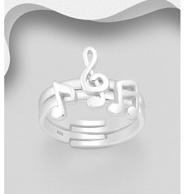Sterling Ring- Music Notes Adjustable