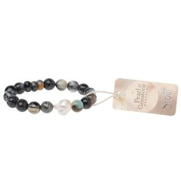 Scout Pearl and Gemstone Bracelet Black Agate