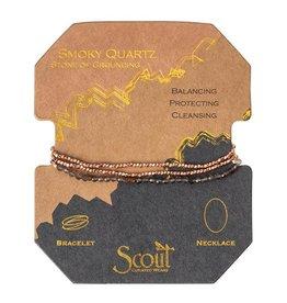 Scout Delicate Stone Necklace/Bracelet -smokey quartz/rose gold