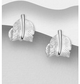 Sterling Sterling Silver Studs-Curled Feather