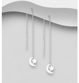Sterling Sterling Silver Threader Earring- Moon & Star