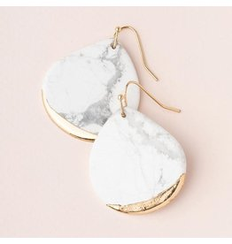 Scout Stone Dipped Earring- Howlite/Gold