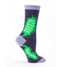 Blue Q Crew Socks- Kale