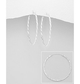 Sterling Sterling Silver Lg. Twisted Hoops - 1.75 inch (45mm)