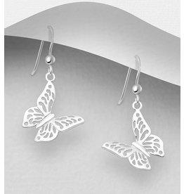 Sterling Sterling Silver Lace Butterfly Earrings