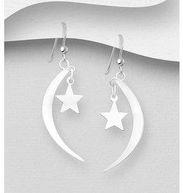 Sterling Sterling Silver Drop Moon & Star
