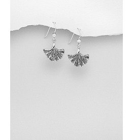 Sterling Sterling Silver Oxidized Leaf Earrings