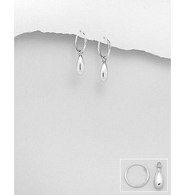 Sterling Sterling Silver Small Hoops w/drops
