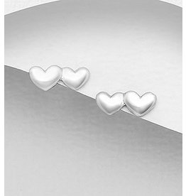 Sterling Studs-Double Hearts