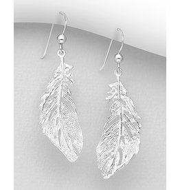 Sterling Sterling Silver Feather Earrings