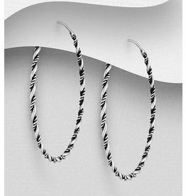 Sterling Sterling Silver Oxidized Twisted Hoops - 1.2 inches (31mm)