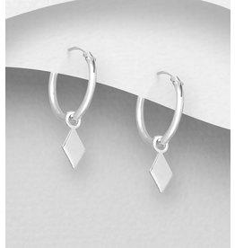 Sterling Sterling Silver Sm. Hoops w/diamond shape