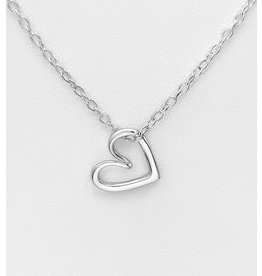 Sterling Sterling Silver Necklace Heart Outline-18""