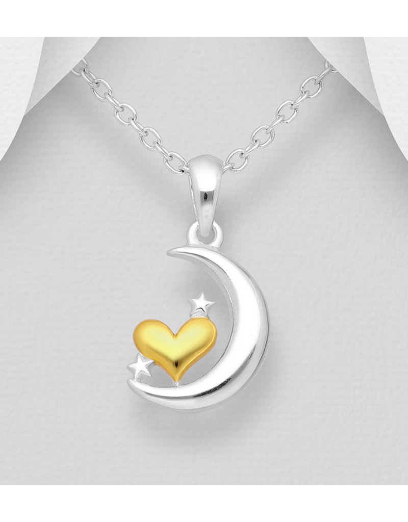 Sterling Sterling Silver Necklace-14K.Gold PL/Silver Moon-Stars
