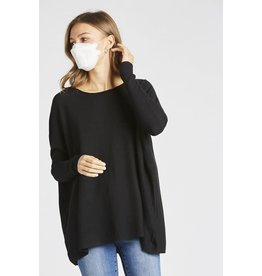 Gillian- Over-Sized Sweater Top in Black