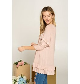 Doe & Rae Muriel Ruffle Cardigan in Blush