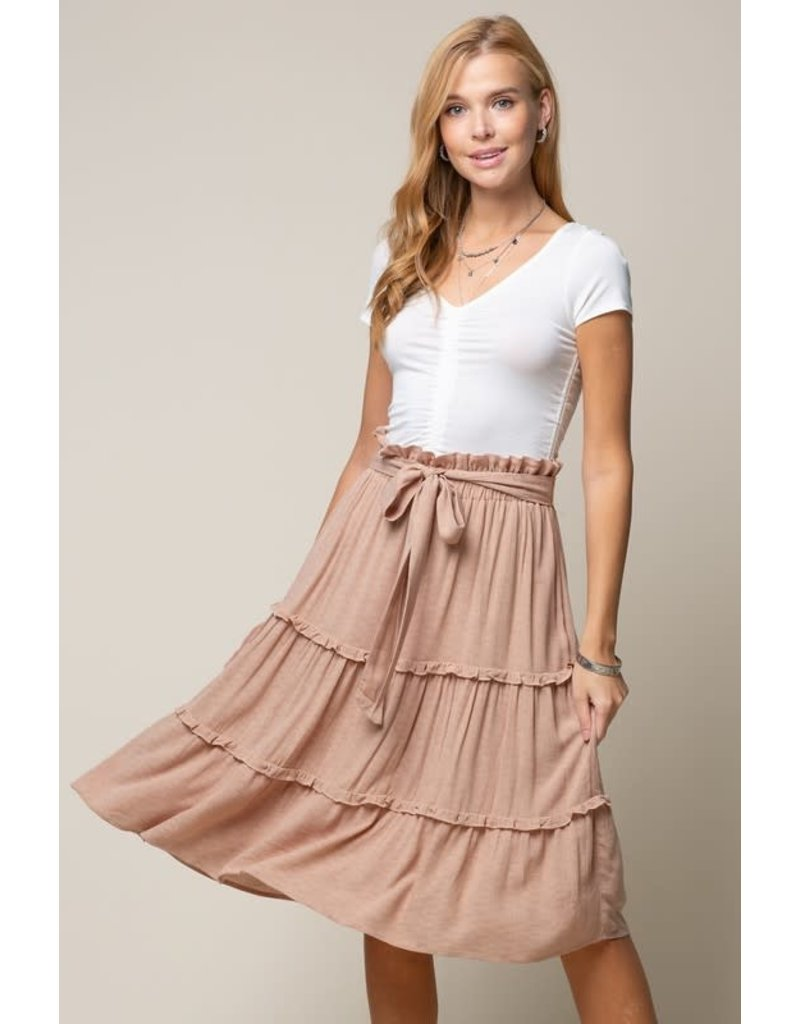 Doe & Rae Juno Ruffle Skirt in Latte