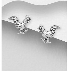 Sterling Studs-Sterling Oxidized Chickens