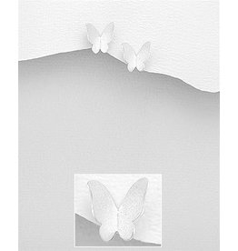 Sterling Studs-Matte Sterling Silver Butterfly