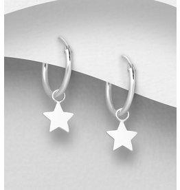 Sterling Sm. Sterling Hoops w/Star Charm