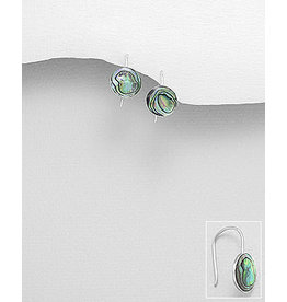 Sterling Sterling small drop earring with shell ball (other col. available)