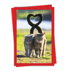 Noble Works Two Cats Tails Valentine Card