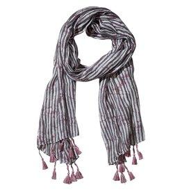 Tickled Pink Gray Long Stripe Fringe Scarf
