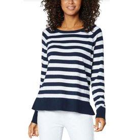 Liverpool Raglan Sweater With Side Slits- Navy Stripe