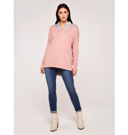 Apricot Amber-Soft Touch Sweater in Pink
