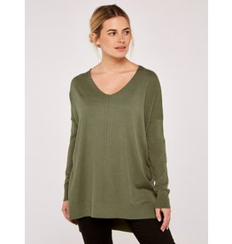 Apricot Amber-Soft Touch Sweater in Green