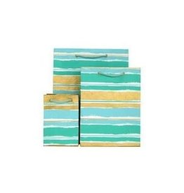 Love Vivid Cotton Gift Bag-Paint Stripe Mint-Small