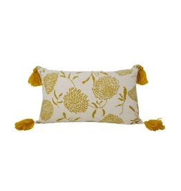 Nostalgia Import Cushion- Ochre w/Tassels - Rectangle